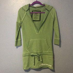 Green Vintage A&F long hooded sweatshirt